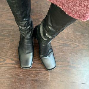 NWOT Leather Block Heel Boots